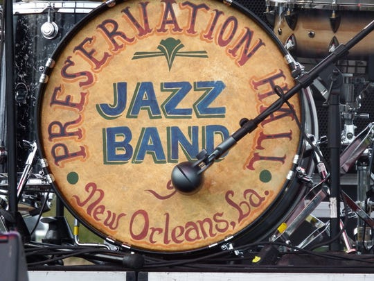 The bass drum for the Preservation Hall Jazz Band,