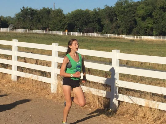 Erin MNoyer from Damonte Ranch won the girls cross country race Friday at Bartley Ranch
