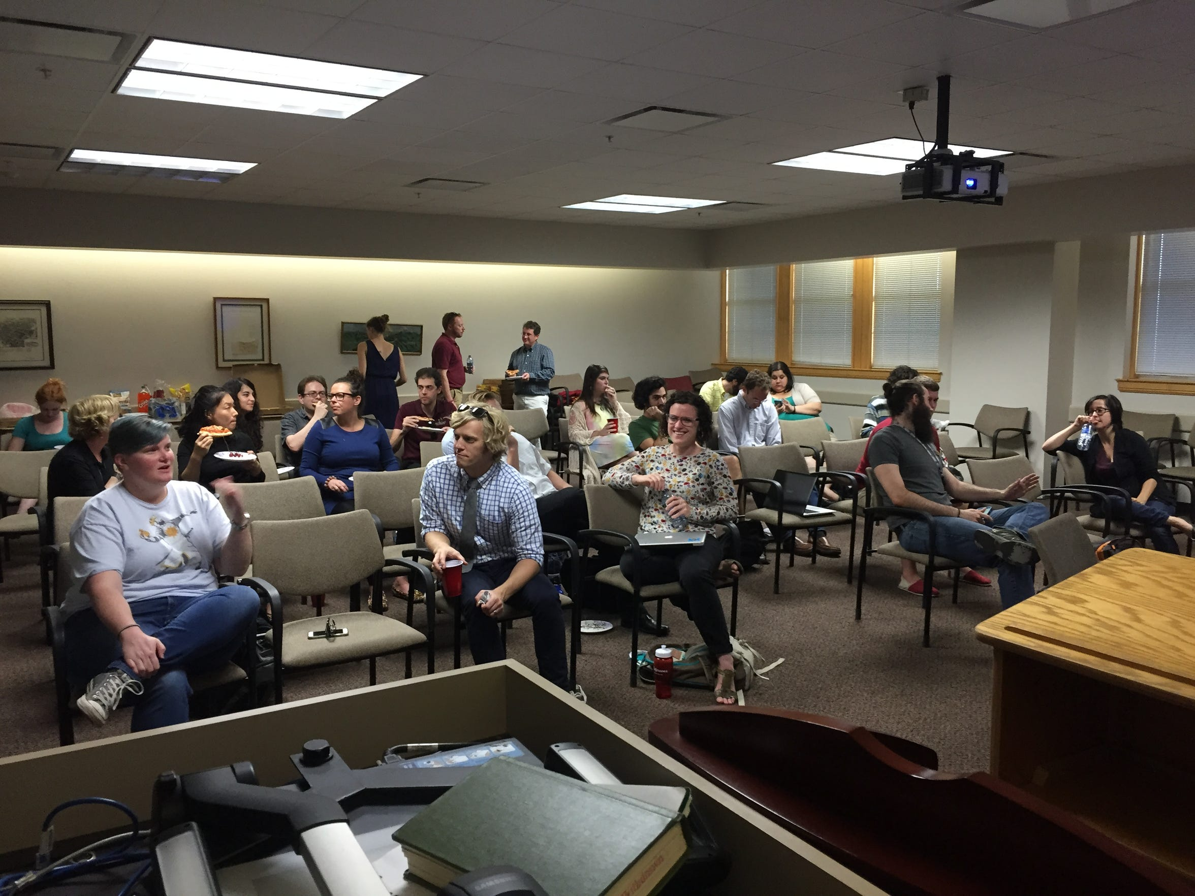 Graduate Assistants United hold a meeting to discuss issues related to teaching, pay and more.
