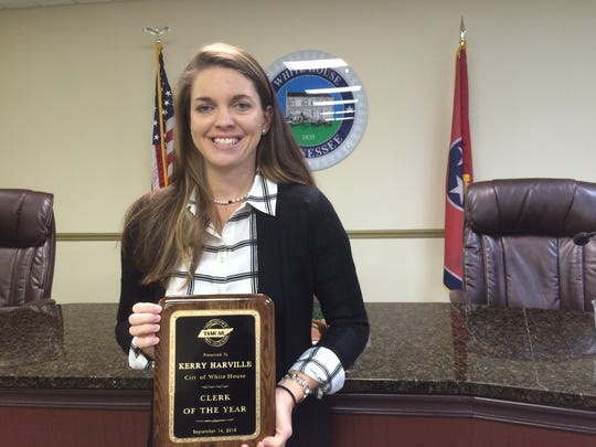 White House City Recorder Kerry Harville was named clerk of the year in Tennessee last week.