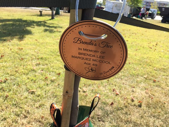 A memorial plaque for Brenda Lee Marquez McCool, a victim of the Orlando Pulse nightclub shooting.