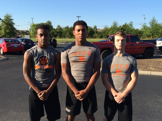MTCS has rushed for more than 1,600 yards in three games thanks to (l-r) freshman Kemari McGowan, senior Joe Peck and junior Andrew McConnell.