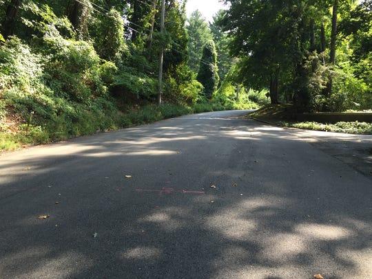Emily Blunt runs down Irvington's Ardsley Avenue West,