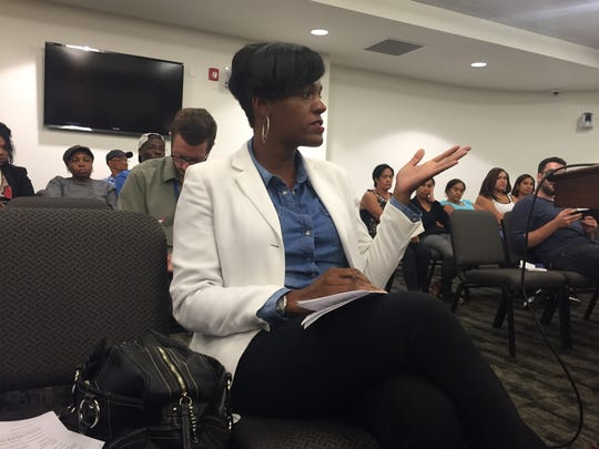 Real estate developer Tawanda Thomas speaks during a York Redevelopment Authority meeting. Thomas said she was left off the agenda, preventing her from seeking a property.