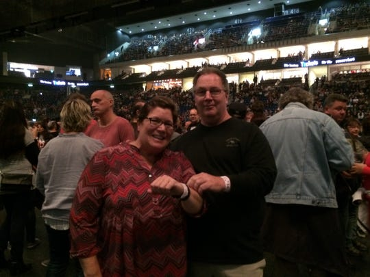 Rolling Stones fans Anita and Mike Westman of Lindstrom, Minnesota