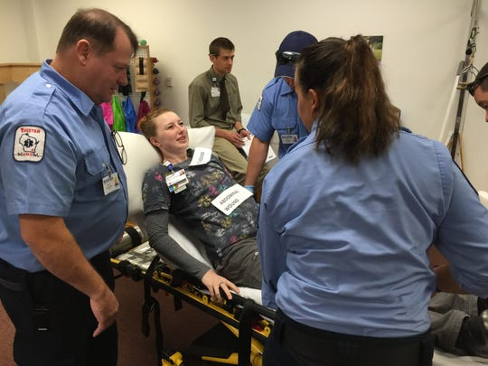 Emergency personnel cared for simulated victims during the drill recently at Waupun Memorial Hospital.