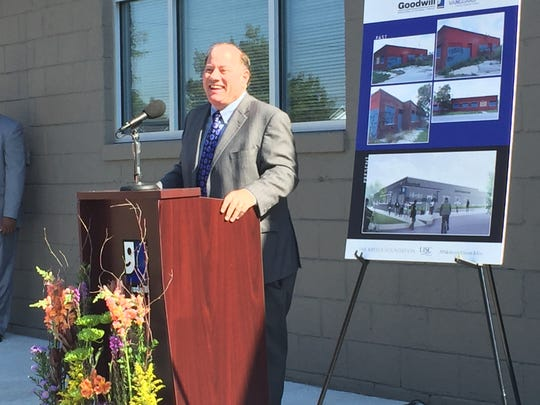 Mayor Mike Duggan speaks Thursday, Sept. 22, 2016 at the opening of the new North End Career Center.