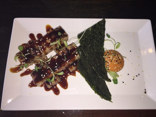 Seared sushi rice cakes with spicy kewpie, sweet soy