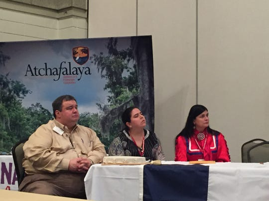 Members of the Tunica-Biloxi tribe spoke about their relationship with French settlers.  From left to right: John Barbry, Elizabeth Pierite-Mora, Donna Pierite