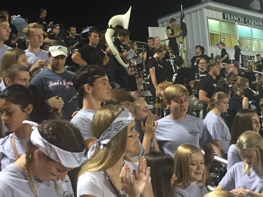 The student and band section of the stands were a bit ruckus during the homecoming football game.