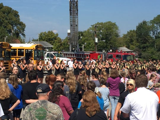 A sizable crowd gathered for a community pep rally for Houston County High School's Homecoming.