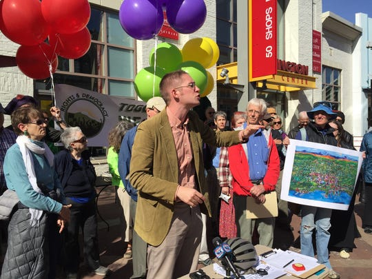 City Councilor Max Tracy speaks on Monday, Sept. 26, at an event organized by the Coalition for a Livable City.