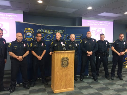 Green Bay Police chief Andrew Smith and officers announce they will be wearing specially made pink badges during October for Breast Cancer Awareness Month.