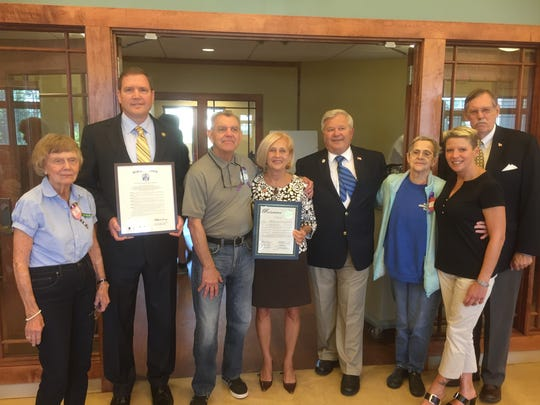 Pictured left to right: ADC Member Edie Douglass; Senator Michael Doherty, Legislative District 23; ADC Member John Canning; Somerset County Freeholder Director Patricia Walsh; Mayor of Bound Brook Fazen; ADC member Karen Matyk; ADC Executive Director Diann Robinson; and ADC Board of Trustees Chair, Dave Tucker.