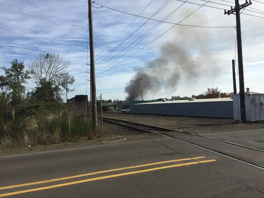 The Salem Fire Department responds to a fire at a scrap yard off Salem Industrial Drive.
