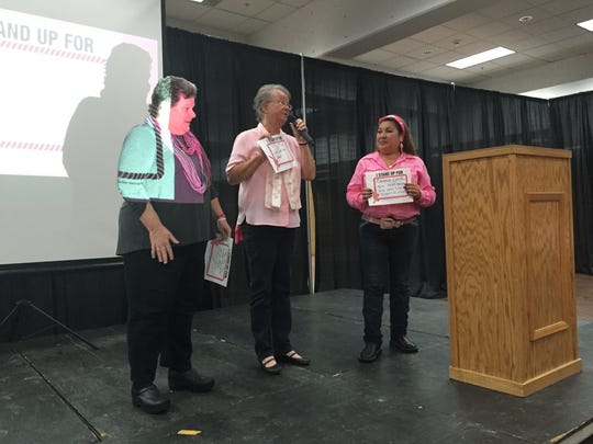 Breast cancer survivors Marge Sanford and Jackie Gash