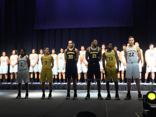 Michigan men's and women's basketball players model the new Jumpman uniforms on Sept. 30, 2016