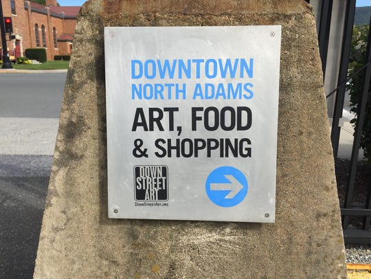 A sign near MASS MoCA in North Adams, Massachusetts,