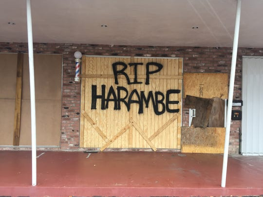 A Fort Pierce storefront prepared for Hurricane Matthew/