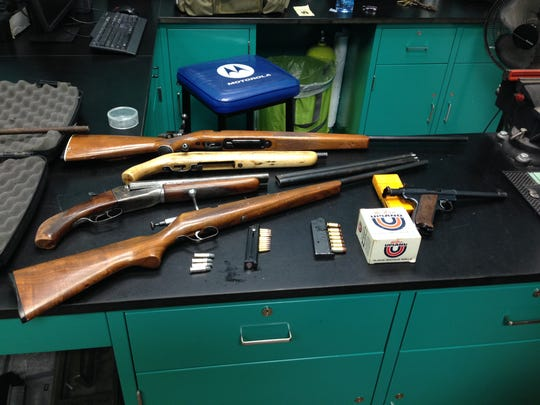 Santa Paula police found five guns during a probation search Thursday in Santa Paula, officials said.