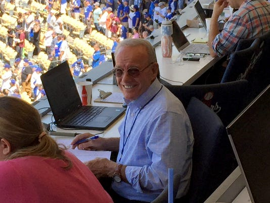 Jerry White in the Vin Scully Press Box 1
