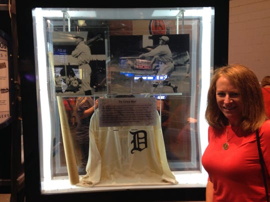 Cindy Cobb, granddaughter of Ty Cobb, stops by a Cobb
