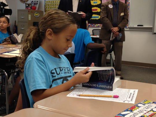 Jaylee Rodriguez, a River Hall Elementary third grader,