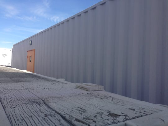 """Exterior of the """"Relief Box,"""" a container home built by Modern Container Concepts to help displaced natural-disaster victims."""