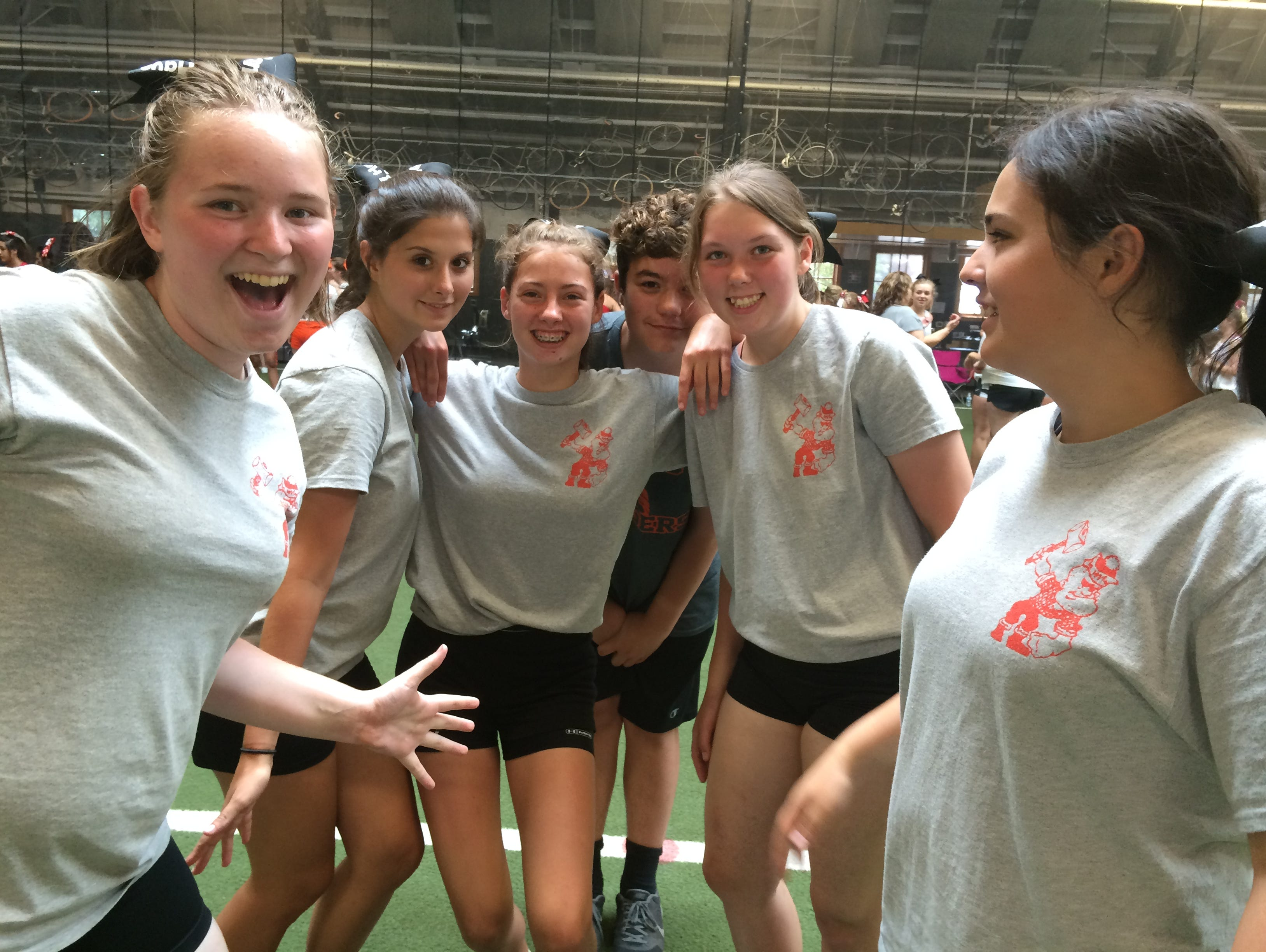 A little bit of fun during the summer competition for Scio High School. (from left: Brooke Nelson, Shyanne Hysell , Macy Bodine, Ethan Eckert, Skylar Medley, and Shannon Campos.)