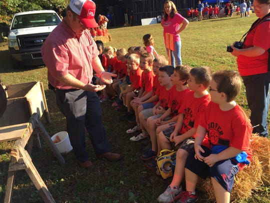 A group of Dover Elementary students are shown the