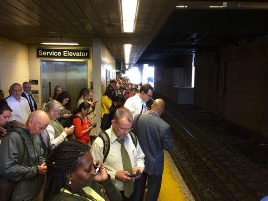 Commuters crows a platform at Seacaucus Juntion in Seacaucus, NJ after a train crash in Hoboken wreaked havoc on train service through the Garden State -- and Rockland County.