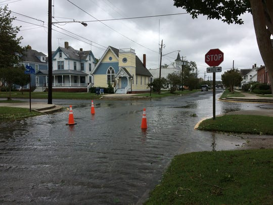 Hurricane Matthew caused some flooding on the Eastern Shore of Virginia, including this high water on Cape Charles Street on Sunday, Oct. 9, 2016. This Eastern Shore News/Delmarvanow photo is part of the Water/Ways exhibit at Cape Charles museum.