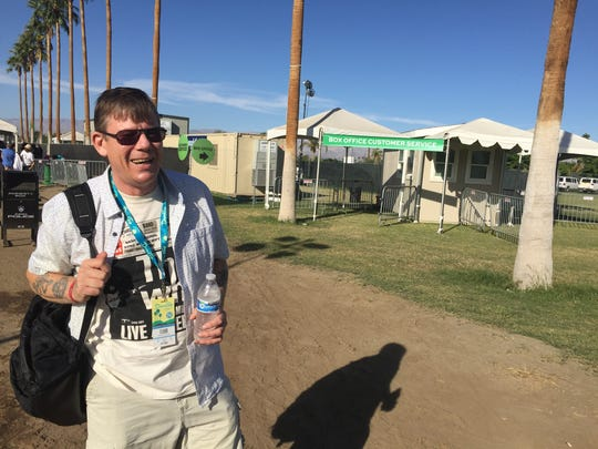 David Galbraith, 60, traveled all the way from England with just a week's notice to see the Desert Trip Music Festival in Indio, Calif., on Saturday, Oct. 8, 2016.