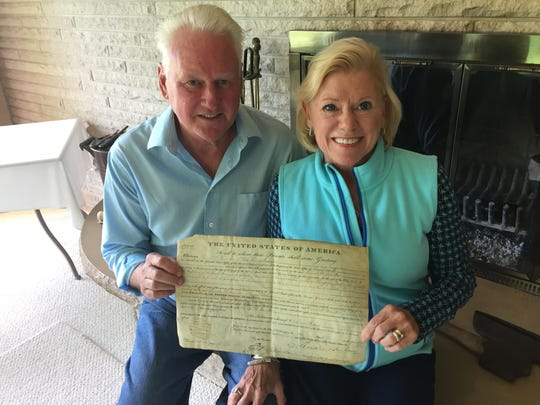 Bob and Lee Foerster hold a land patent for a farm near Portland Mills, Indiana, purchased by Samuel Hamilton. Hamilton was a private in the Battle of Tippecanoe and an ancestor of Lee Foerster. Bob Foerster, a retired West Lafayette principal and a finalist for NASA's Teacher in Space Program in the 1980s, is one of 55 people who will be part of the Indiana bicentennial torch relay when it comes through Tippecanoe County on Oct. 12, 2016.