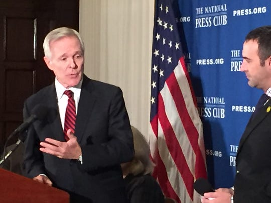 Navy Secretary Ray Mabus answers questions at a luncheon