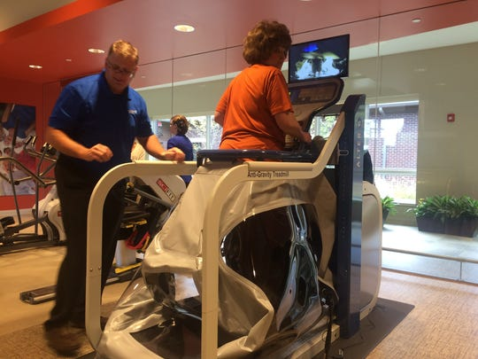 The AlterG anti-gravity treadmill will help speed recovery from hip replacement or knee surgery.