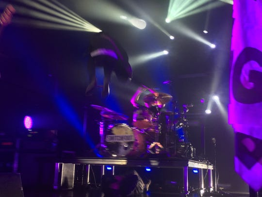 Switchfoot lead singer Jon Foreman jumps off the drum