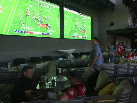 Topgolf Las Vegas features two giant screens in The