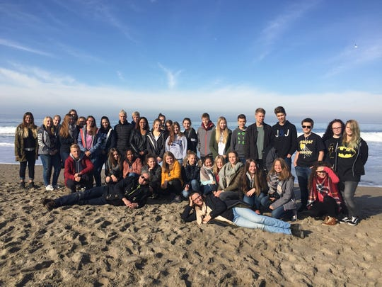 German exchange students enjoy a day in the sun on the Oregon coast.