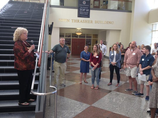 Myra Hurt, senior associate dean of the FSU College of Medicine, discusses the new Interdisciplinary Medical Sciences Program during a reception in October 2016 at the college.