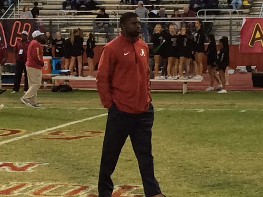 Alabama assistant football coach Derrick Ansley is on hand for the game.