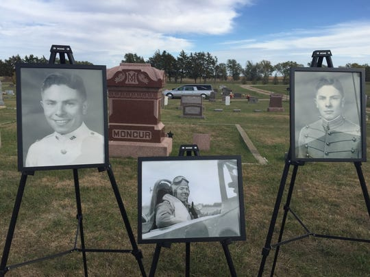 Portraits of 1st Lt. Ben Barnes, who was laid to rest
