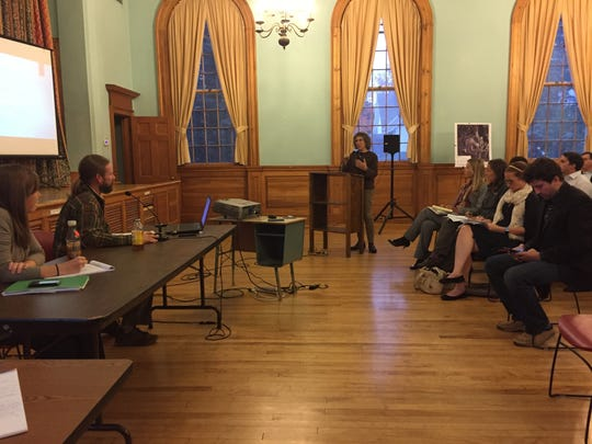 A community member speaks to environmental analysts Helen Carr and Kevin Burke during a public hearing regarding a storm water permit application for Vermont Rail at Shelburne Town Hall on Thursday, Oct. 13, 2016.