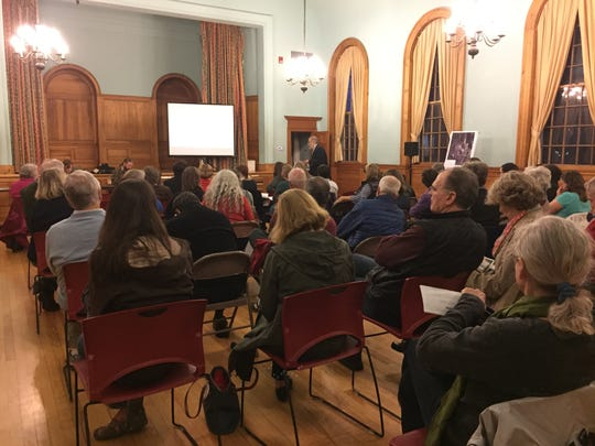 Shelburne community members attend a public hearing regarding a storm water permit application for Vermont Rail at Shelburne Town Hall on Thursday, Oct. 13, 2016.