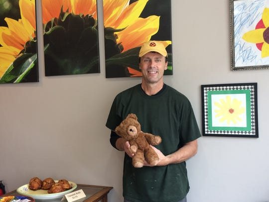 Sunflour Bakery owner Dave Patton and the lost teddy bear.