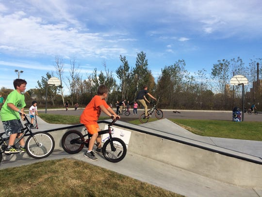 Kids brought their bikes, skateboards and scooters