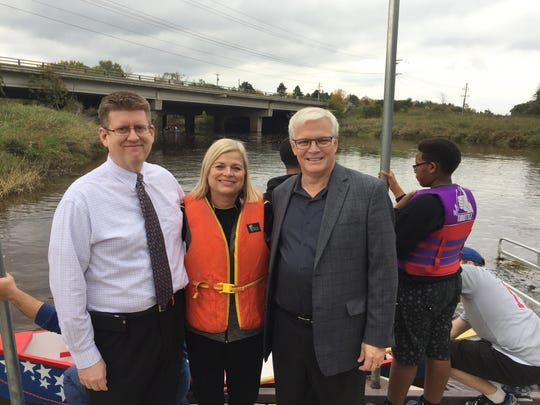 Brown Deer Village Manager Michael Hall, Brown Deer Schools Superintendent Deb Kerr and Badger Meter CEO Rich Meussen watched as Brown Deer students launched the boats they constructed through the Building2Learn program.