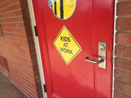 A classroom door at Mooretown Elementary School