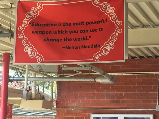 A quote from Nelson Mandela at Mooretown Elementary