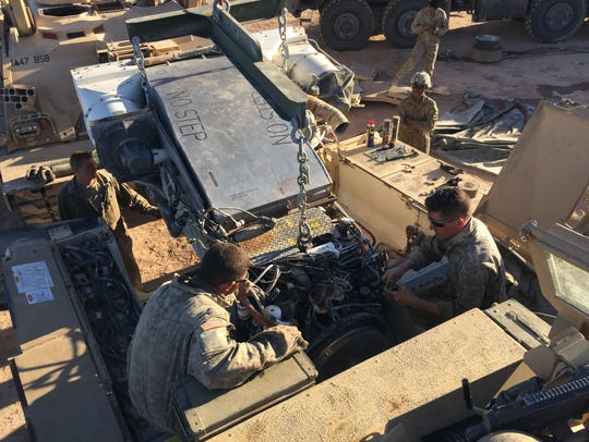 Soldiers from India Company, 47th Brigade Support Battalion